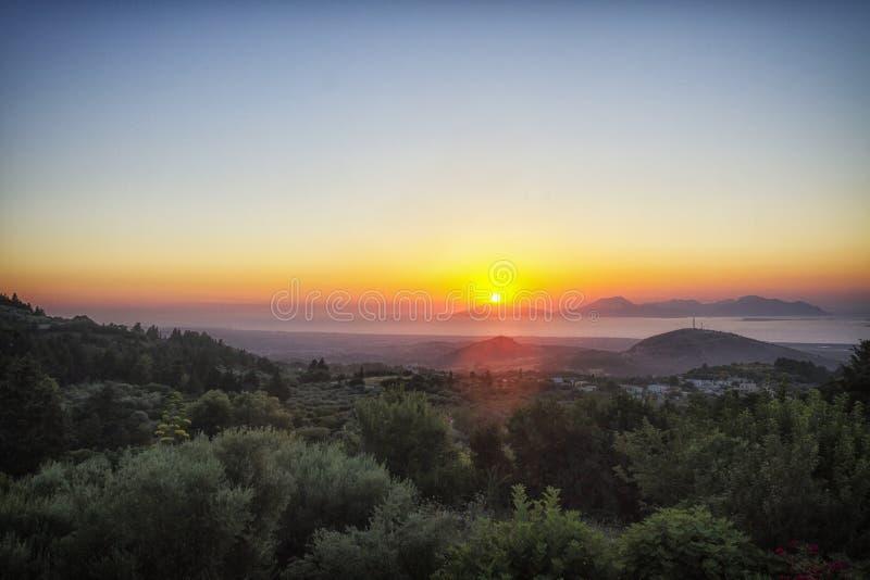 Beautiful dramatic sunset in Kos, Greece. A beautiful dramatic sunset in Zia, Kos, Greece royalty free stock photos