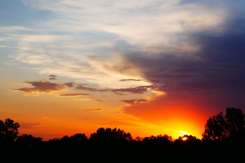 Beautiful dramatic sunset summer background stock image