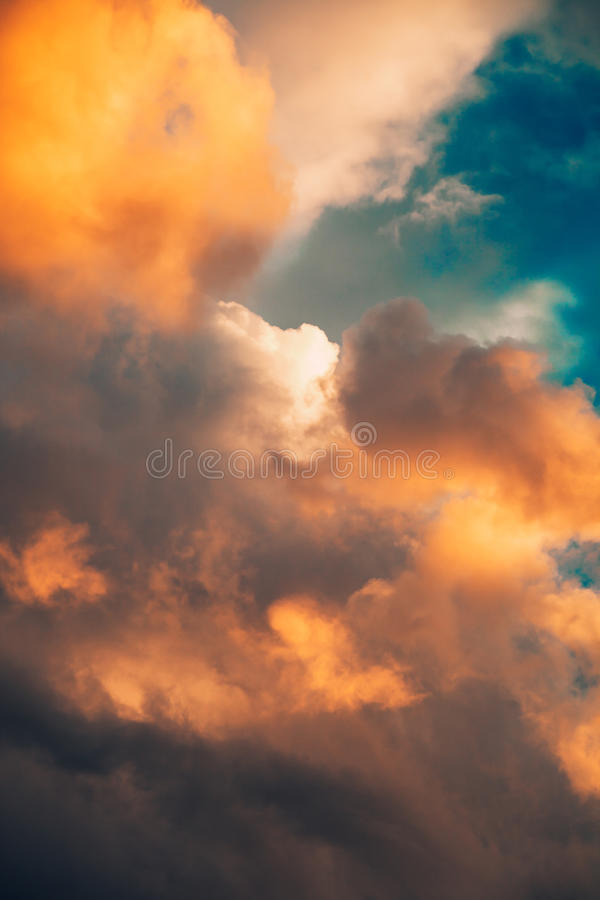 Beautiful dramatic winter cloudscape background royalty free stock photo