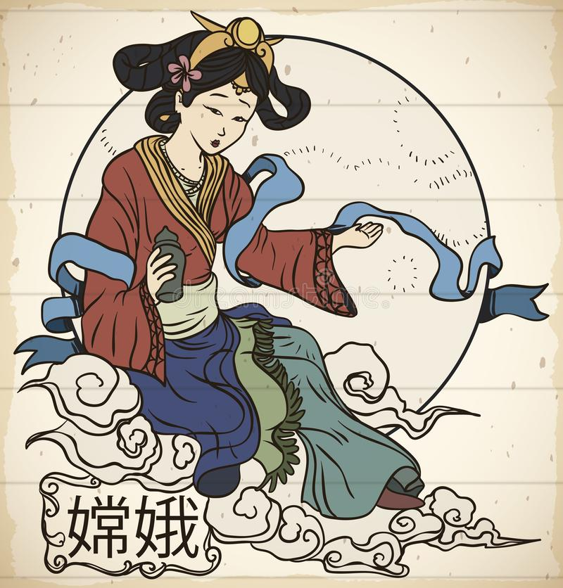 Traditional Representation of Chinese Moon Goddess: Chang`e in Scroll, Vector Illustration. Beautiful drawing in scroll with the representation of the moon royalty free illustration