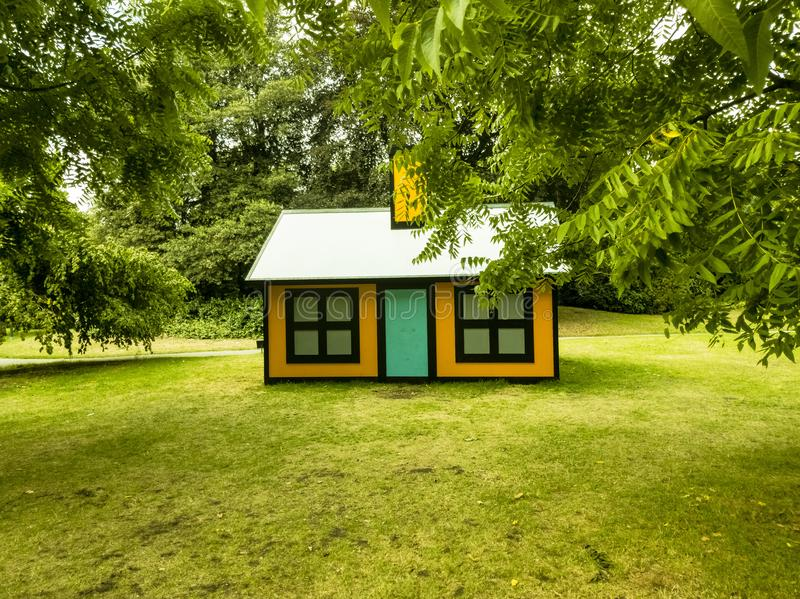 Beautiful Dream Home in the Woods stock photography