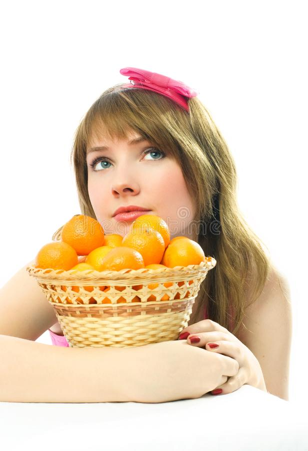 Download Beautiful Dreamy Girl With Tangerines Stock Image - Image: 8050507