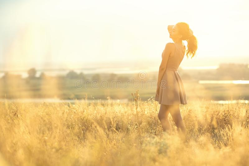 Beautiful girl walking in a field in a dress at sunset, a young woman enjoying summer nature royalty free stock photos
