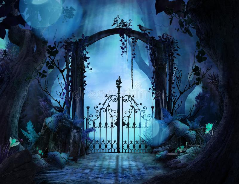 Beautiful dreamy landscape Archway in an enchanted garden. Can be used as background or wallpaper stock illustration