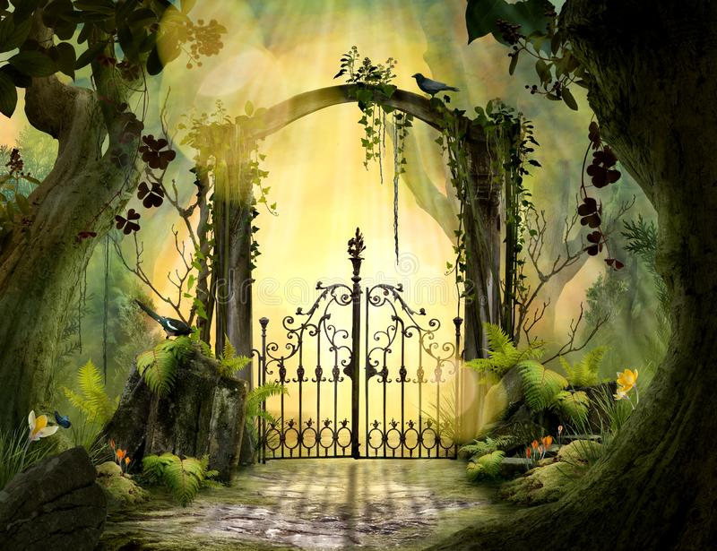 Beautiful dreamy landscape Archway in an enchanted garden stock illustration