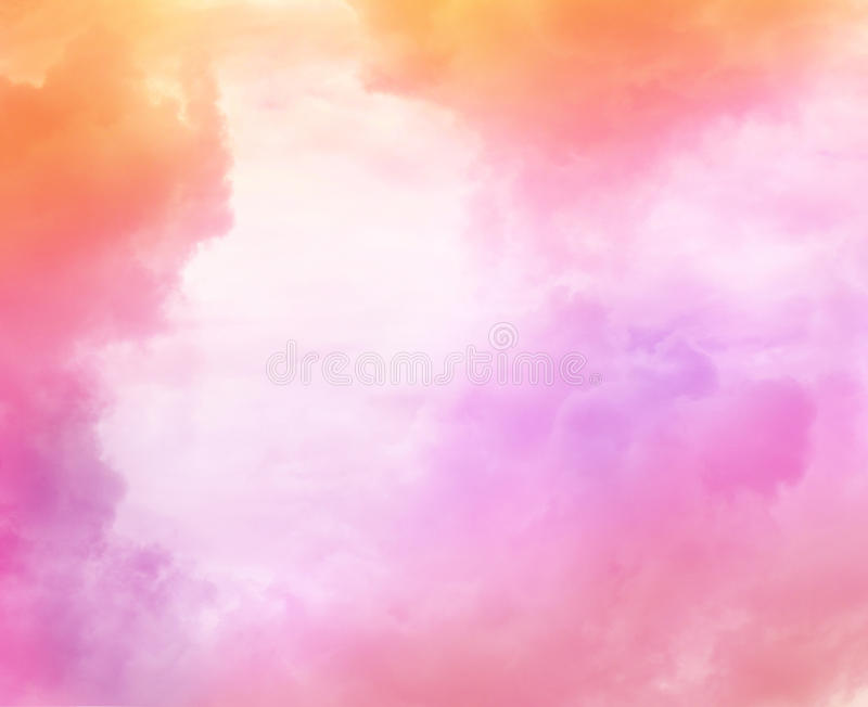 Beautiful dreamy sky with colorful clouds. Beautiful dreamy sky with pink and caramel clouds stock photography