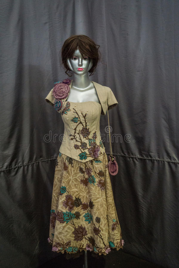 Beautiful dress with batik pattern displayed in Batik Museum photo taken in Pekalongan Indonesia. Java royalty free stock image