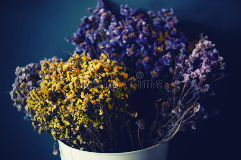 Beautiful dried flowers decoration in authentic interior background. Winter cozy mood. stock image