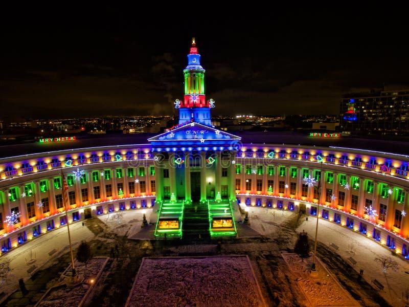 Christmas Lights On City Hall, Denver