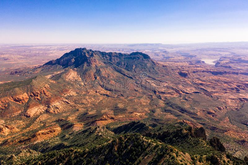 Aerial drone photo - Beautiful Henry Mountains in the Utah desert.  Lake Powell in the distance. A beautiful drone photo of the Henry Mountains and the rugged stock photography