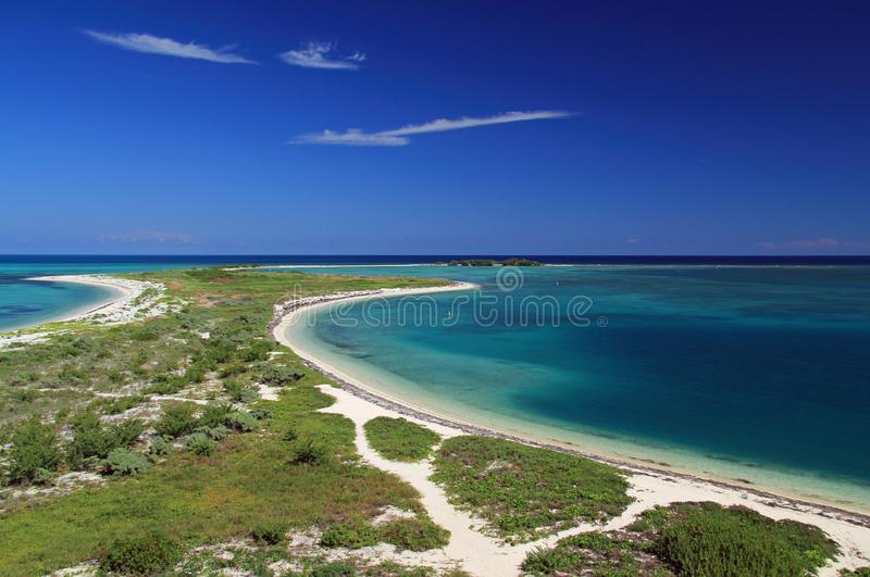 Beautiful Dry Tortugas National Park Landscape. Scenic view of Bush Key and Long Key in Dry Tortugas National Park, Florida Keys royalty free stock images