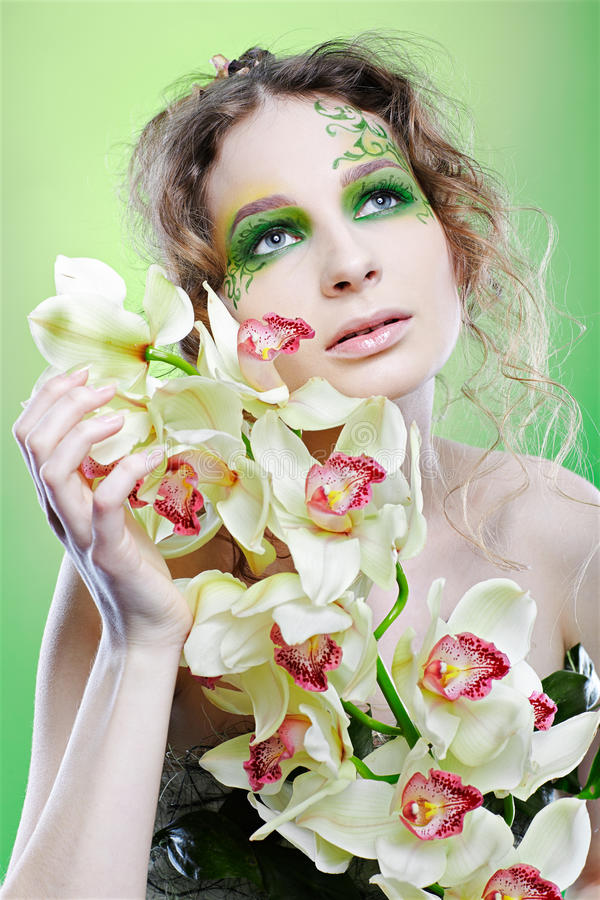 Download Beautiful dryad girl stock image. Image of green, female - 13476905