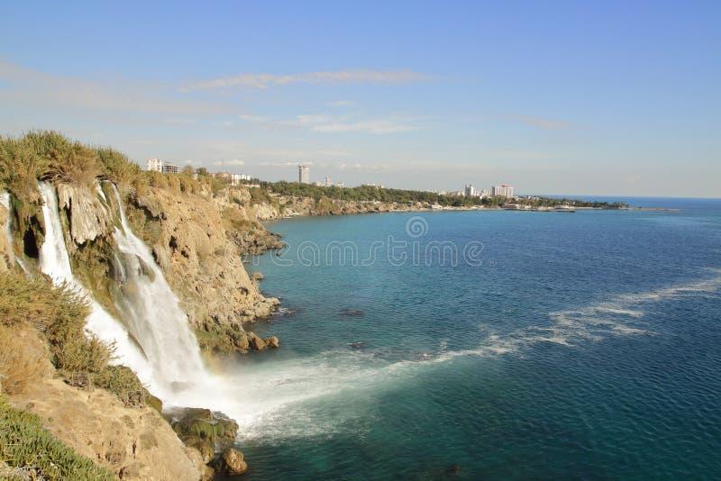 Beautiful Duden Waterfall in Antalya royalty free stock photography