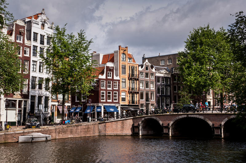 Beautiful Dutch architecture and canals of Amsterdam, Netherlands stock photography