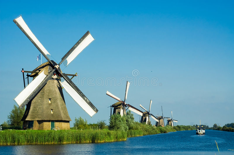 Beautiful dutch windmill lands royalty free stock images
