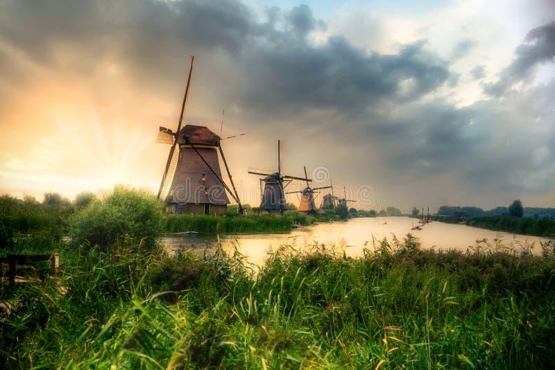 Beautiful Dutch windmills and landscape royalty free stock image