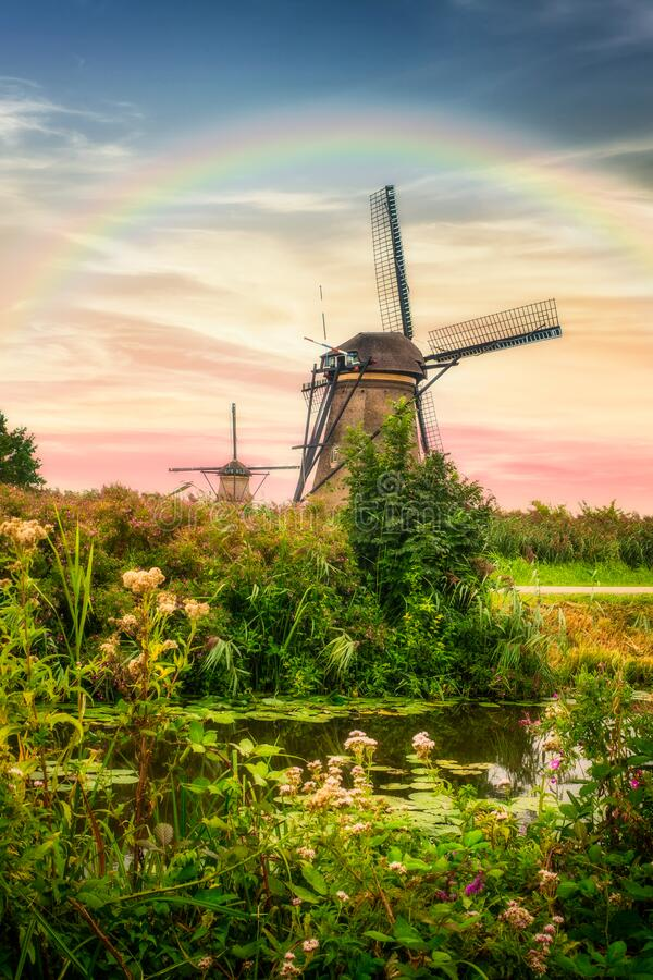 Beautiful Dutch windmills and landscape stock images