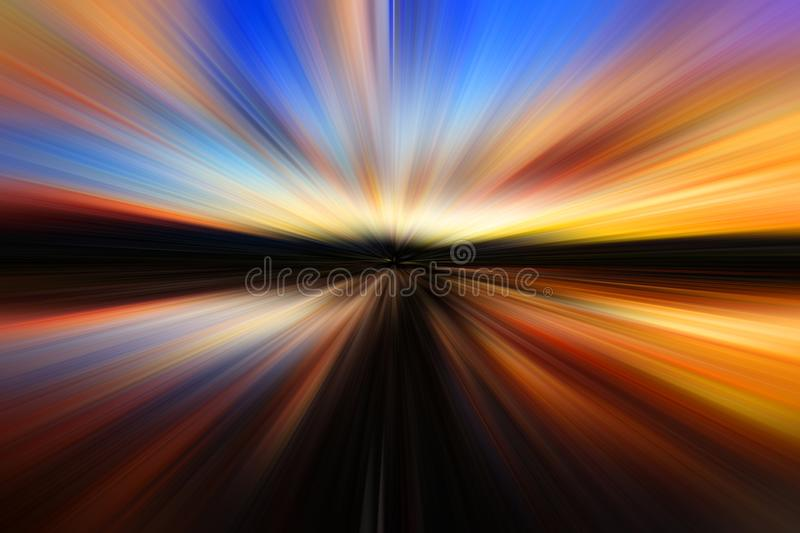 Abstract zoom blur effect for background stock image