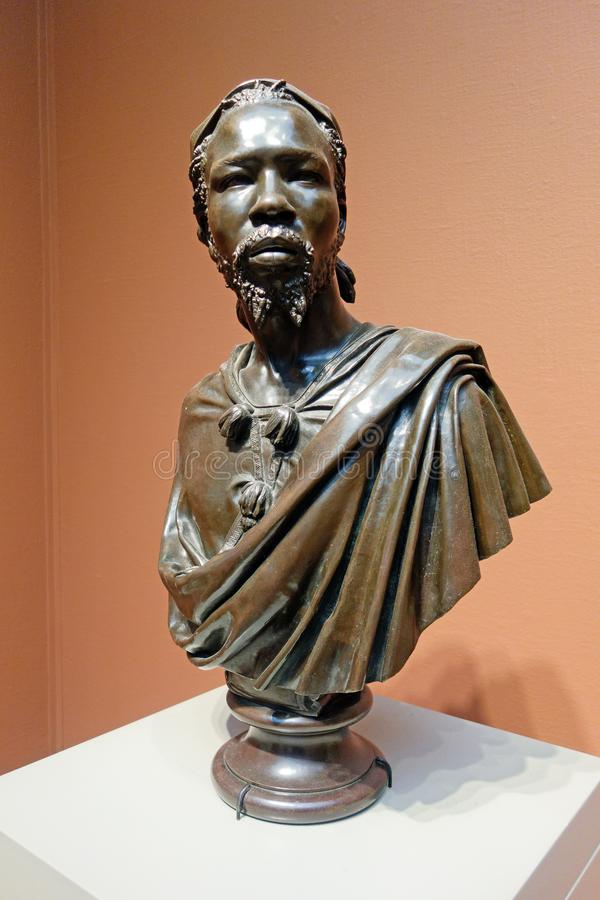 Bronze Sculpture, African American Male Torso, Chicago Institute of Art. A beautiful early American bronze sculpture, stoic and dignified African American male royalty free stock image