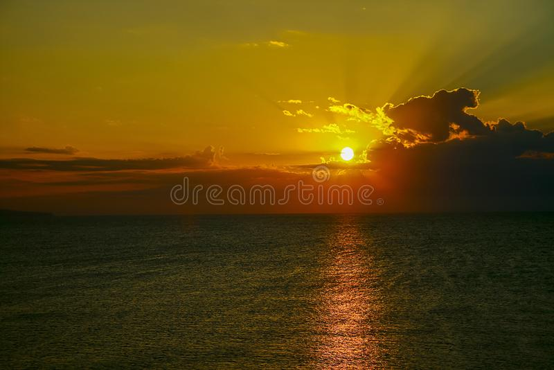 Beautiful early dawn in the sea royalty free stock photo