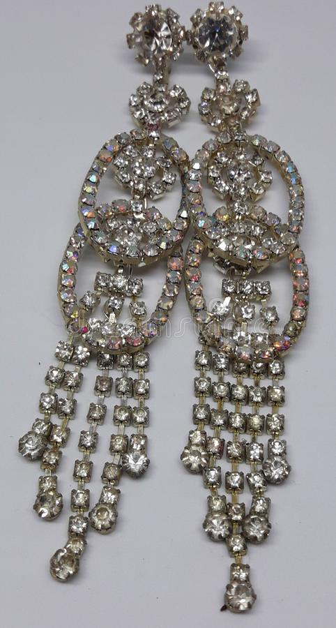This is beautiful earrings, diamond earrings. royalty free stock photo