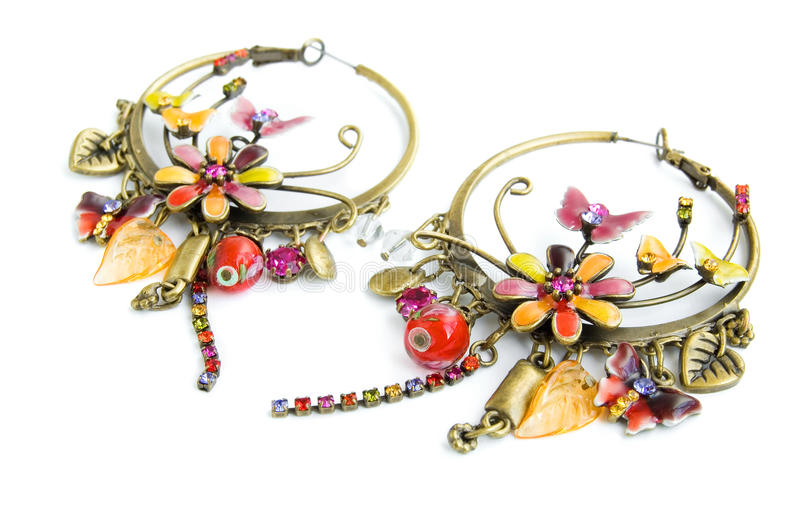 Beautiful earrings with fine ornament stock photos