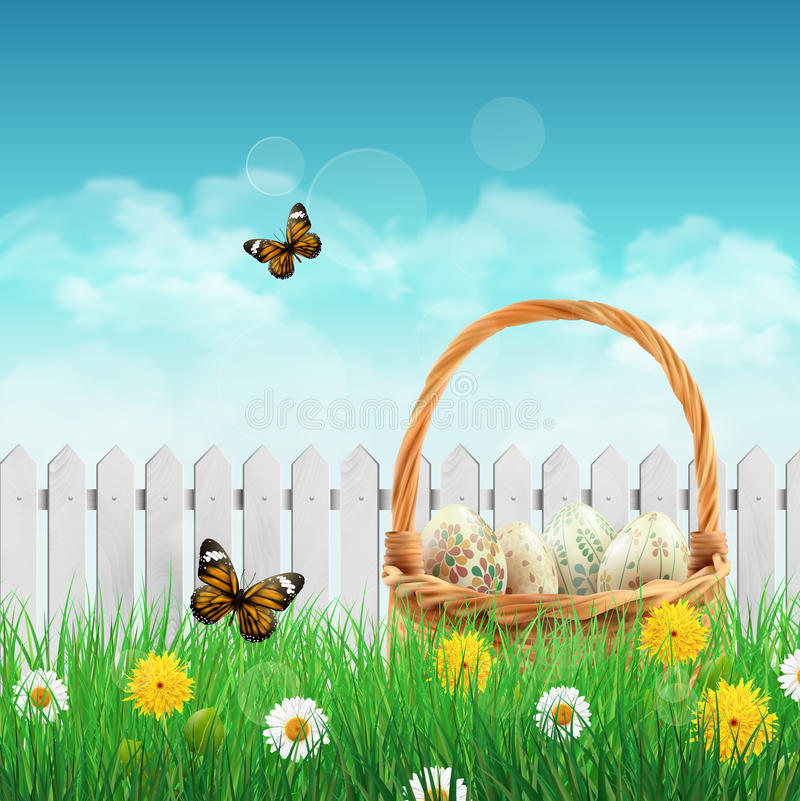 Beautiful Easter basket on a field vector illustration