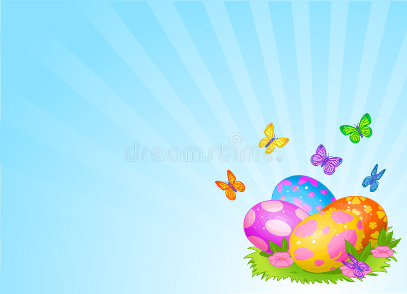 Beautiful Easter Eggs Background Stock Vector