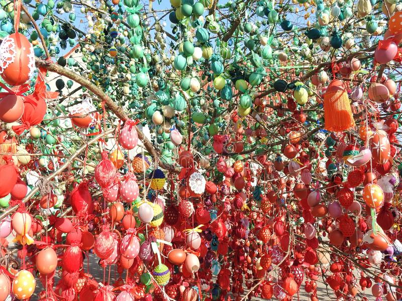 Colorful Easter eggs on tree, Lithuania stock photos