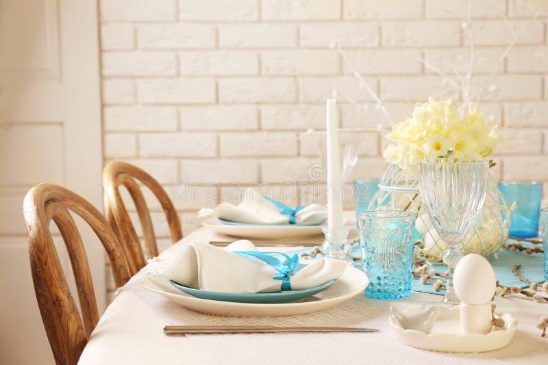 Beautiful Easter Table Setting Stock Image - Image of knife, brick ...