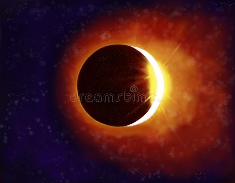 Beautiful eclipse illustration with yellow light rays and clouds in the dark sky stock illustration