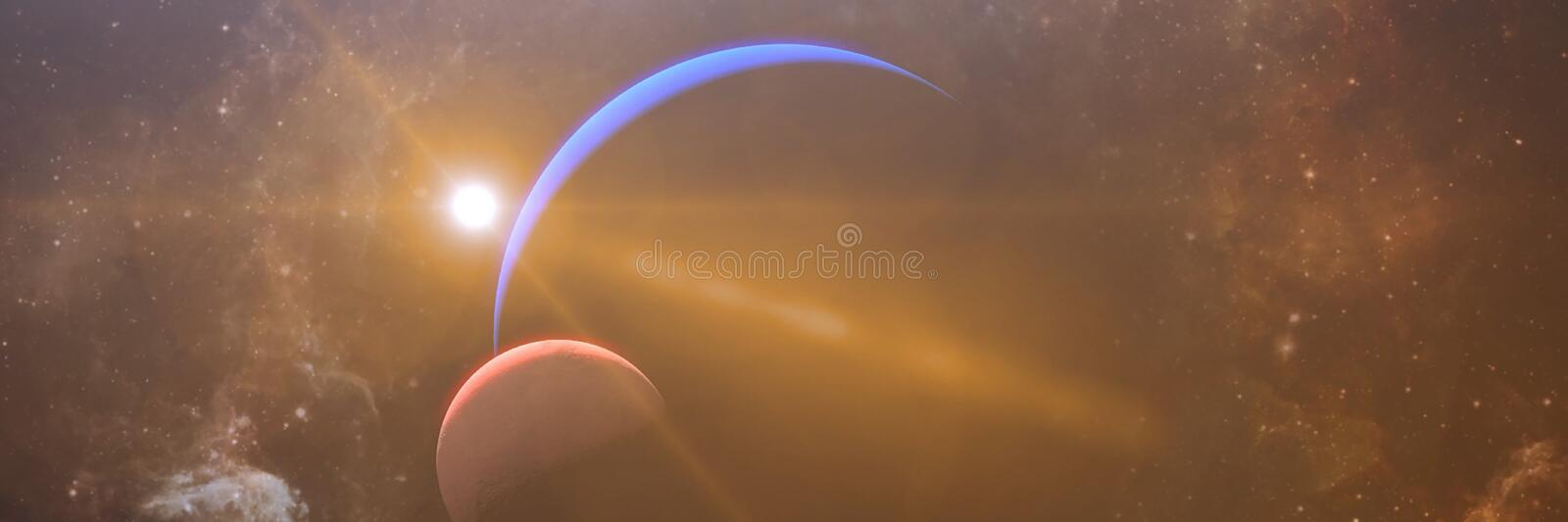 Beautiful Eclipse with meteorite shower. Realistic 3D rendering, High quality  Eclipse planet, galactic, cosmos stock illustration