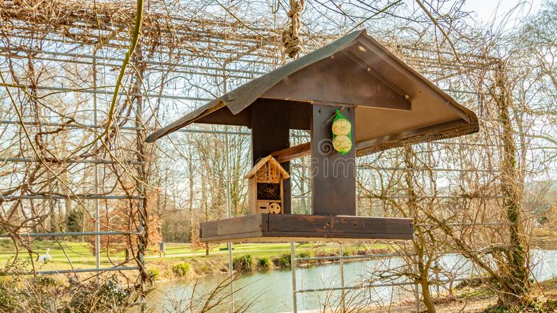 Beautiful ecological combination a bird feeder and a hotel for insects hanging from a tree with a pond in the background. Wonderful and sunny winter day in royalty free stock images