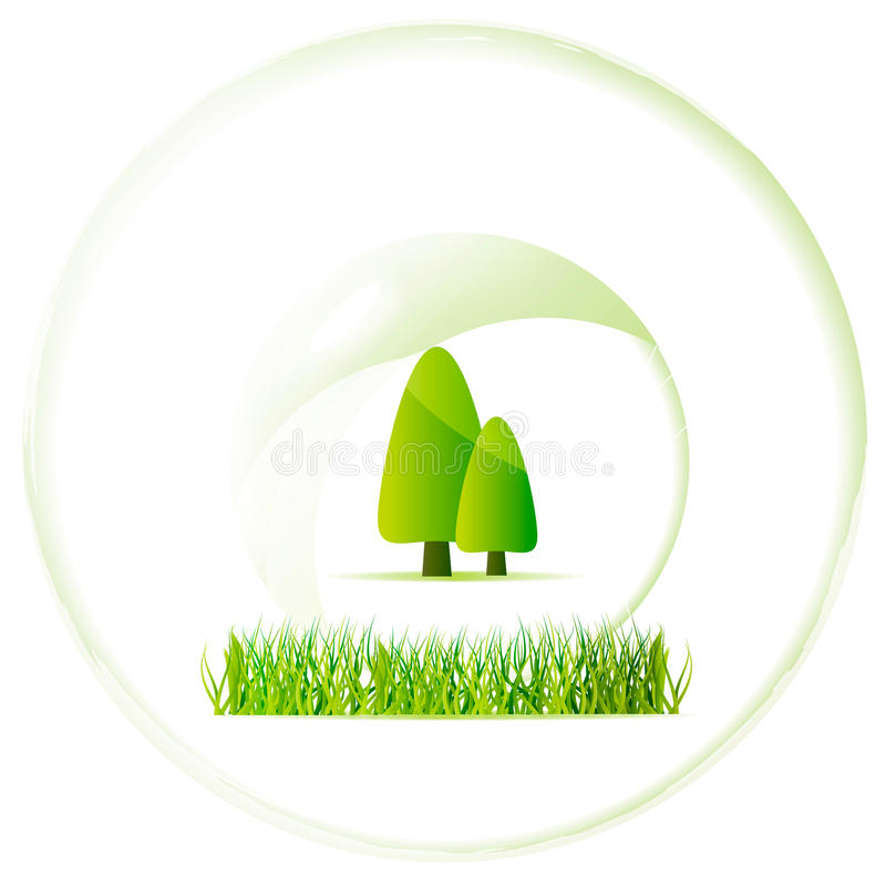 Beautiful ecology orb with tree and green grass. Illustration — ecology green orb with nature elements stock illustration