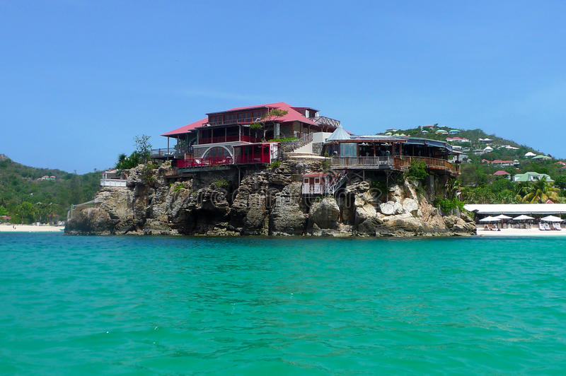 The beautiful Eden Rock hotel at St Barts, French West Indies stock image