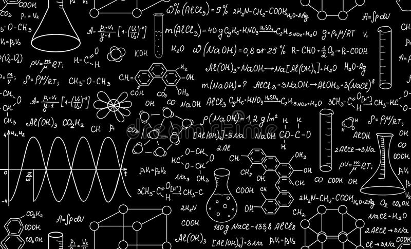Beautiful educational chemistry vector seamless pattern with plots, formulas and laboratory equipment. Scientific background vector illustration