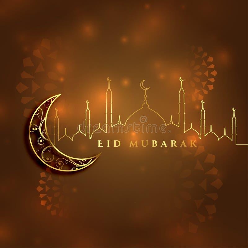 beautiful eid mubarak islamic festival card design stock