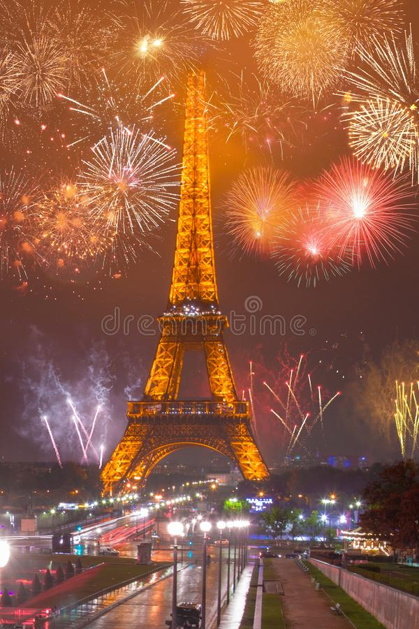 Beautiful Eiffel tower fireworks near the Eiffel tower royalty free stock photography