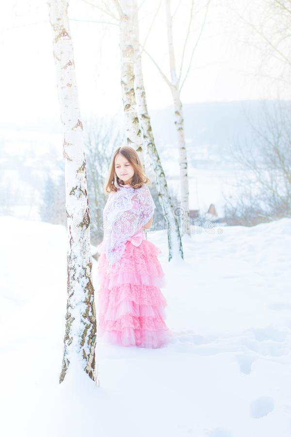 A beautiful girl walks on a frozen forest covered with snow stock image