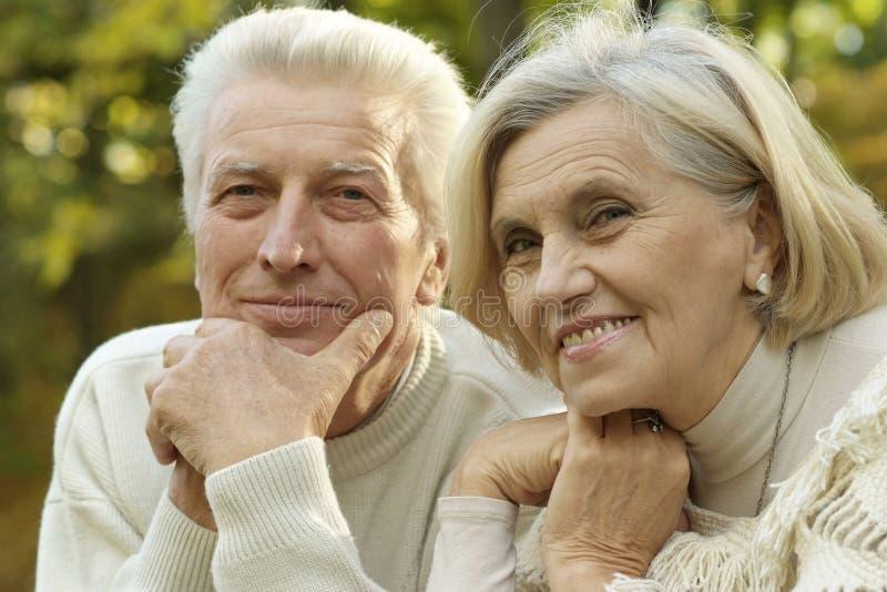 Beautiful elderly couple smiling royalty free stock images
