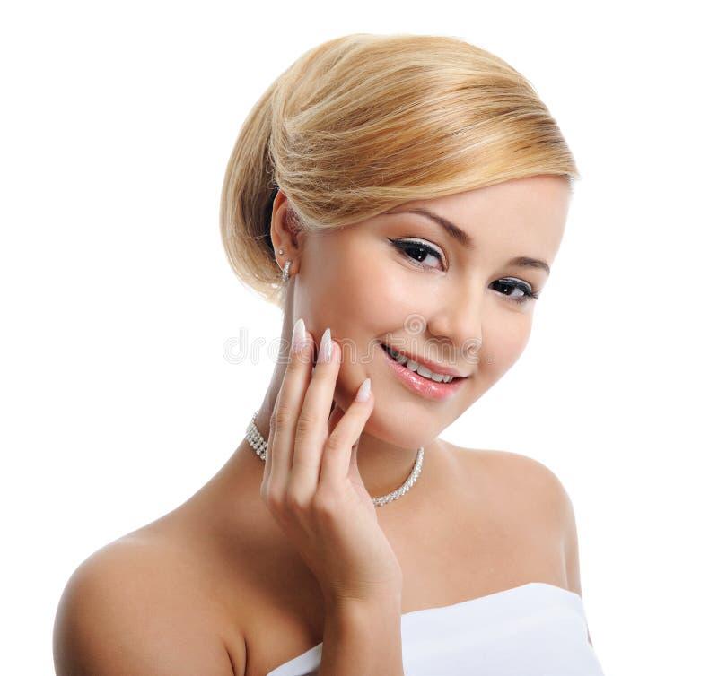 Beautiful elegant blond woman stock image