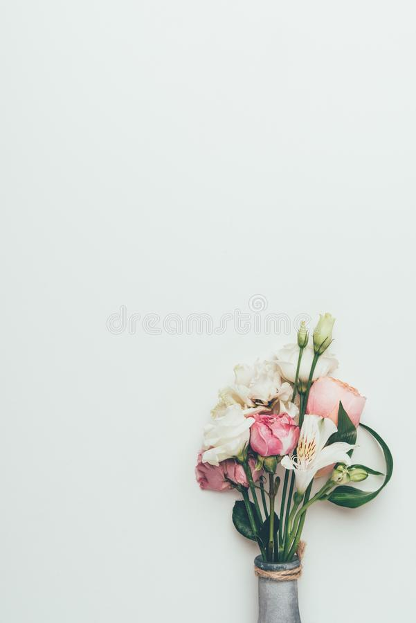 Beautiful elegant bouquet of white and pink flowers in vase stock image