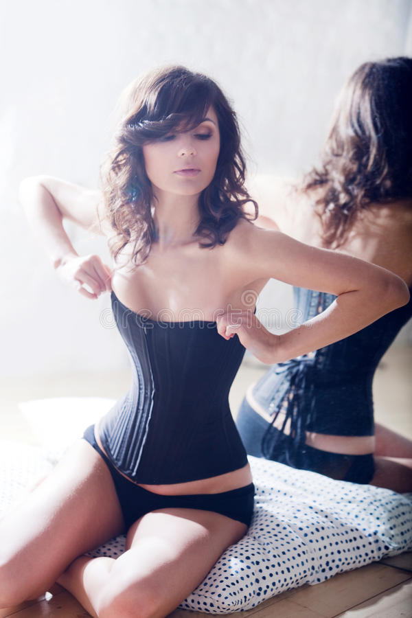 Download Beautiful Elegant Brunette In A Corset. Stock Image - Image: 14624859