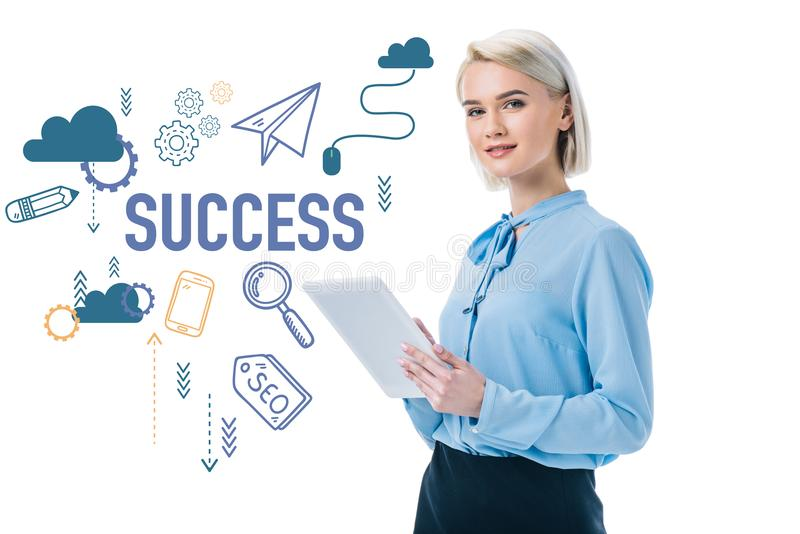 beautiful elegant businesswoman using digital tablet, isolated on white vector illustration