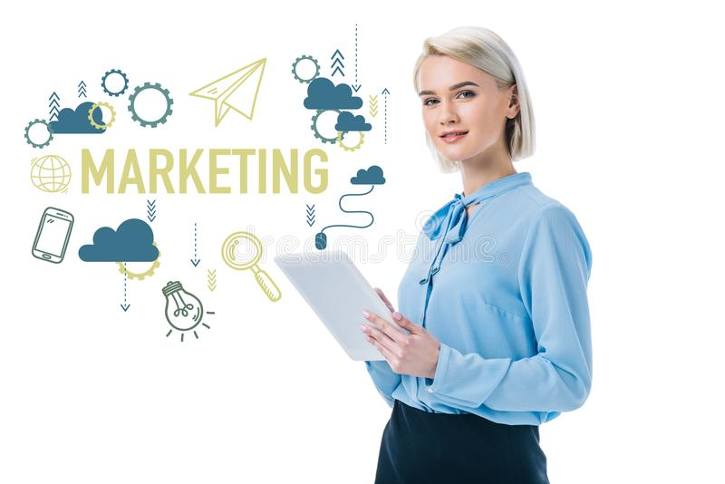 beautiful elegant businesswoman using digital tablet and marketing icons stock illustration