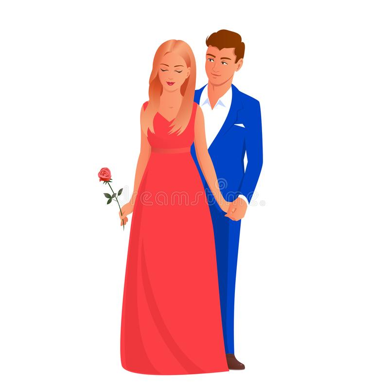 Beautiful and elegant couple of lovers. Beautiful and elegant couple of young lovers. Blonde girl in a red long dress holding a rose flower in her hand. A man in vector illustration