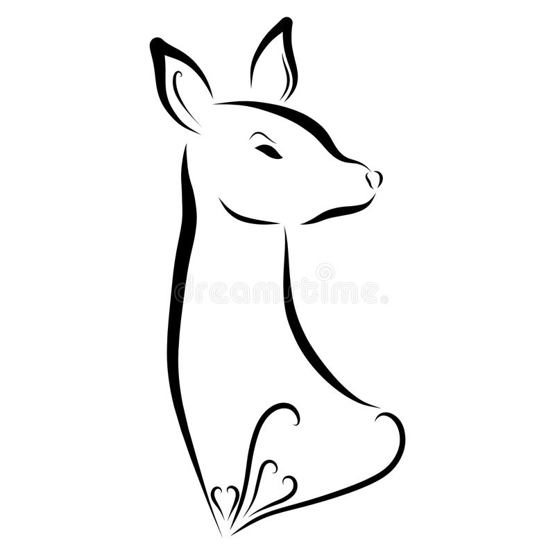 Beautiful elegant doe with a pattern, hearts, beauty and romance.  royalty free illustration