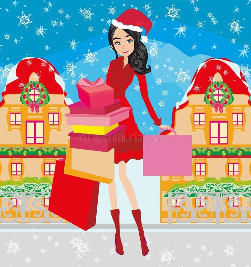 Beautiful elegant girl on Christmas shopping stock illustration