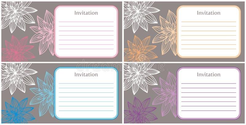 4 beautiful and elegant invitations stock illustration
