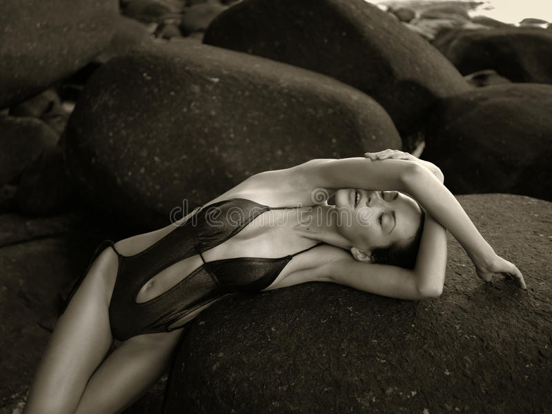 Download Beautiful Elegant Lady At Huge Boulder Stock Photo - Image: 27439882